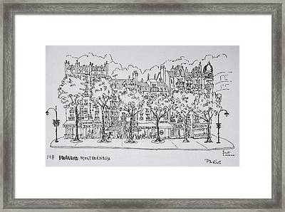 Restaurants And Apartments Line Framed Print