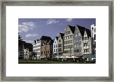Restaurants And Brewpubs Along The Rhine Cologne Framed Print by Teresa Mucha