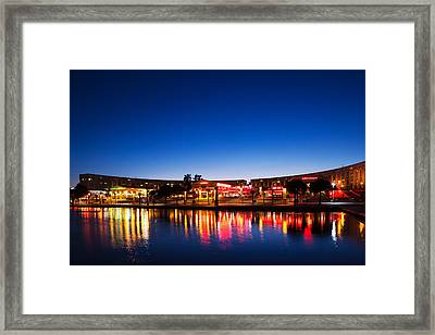 Restaurants By The Esplanade De Leurope Framed Print by Panoramic Images