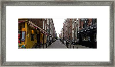 Restaurants In A Street, Amsterdam Framed Print by Panoramic Images