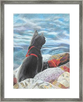Framed Print featuring the painting Resting By The Shore by Jeanne Fischer
