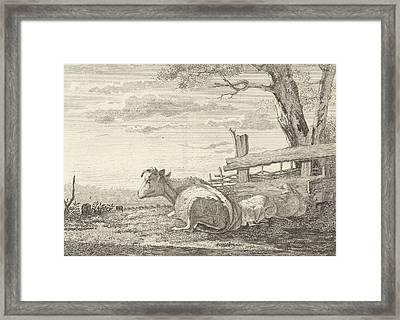 Resting Cattle In A Landscape, Christiaan Godfried Schutze Framed Print by Artokoloro