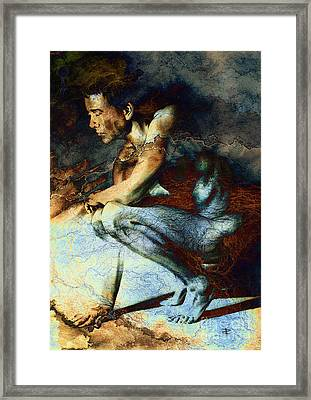 Resting Drawing With Texture Framed Print