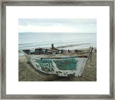 Resting Fishing Boat Framed Print by Jocelyn Friis