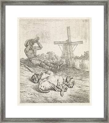 Resting Hunter With Sleeping Dogs, Wouter Johannes Van Framed Print by Wouter Johannes Van Troostwijk