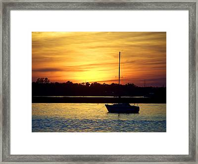 Framed Print featuring the photograph Resting In A Mango Sunset by Sandi OReilly