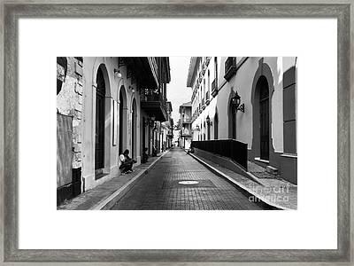 Resting In Casco Viejo Mono Framed Print by John Rizzuto