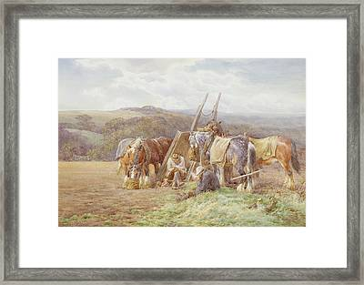 Resting In The Field  Framed Print by Charles James Adams