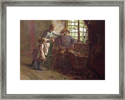 Resting Oil On Canvas Framed Print by Edwin Harris