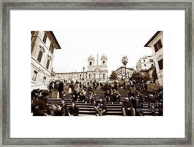 Resting On The Spanish Steps Framed Print by John Rizzuto