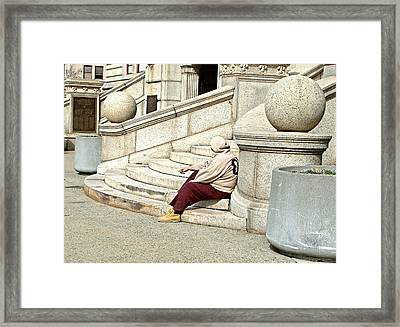Resting On The Steps Of City Hall Framed Print by Mike McCool