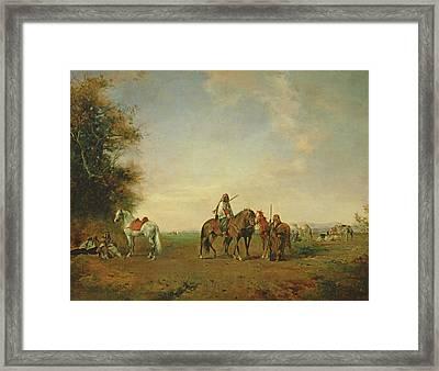 Resting Place Of The Arab Horsemen On The Plain, 1870 Framed Print by Eugene Fromentin