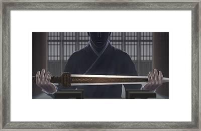 Resting Sword Framed Print by Hiroshi Shih