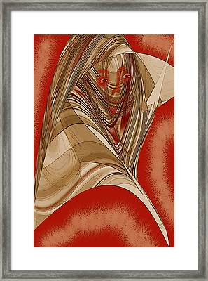 Resting Woman - Portrait In Red Framed Print