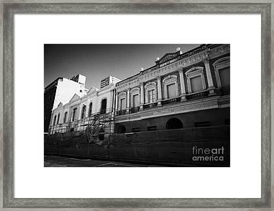 restoration of old colonial buildings damaged by earthquake compania de jesus Santiago Chile Framed Print by Joe Fox