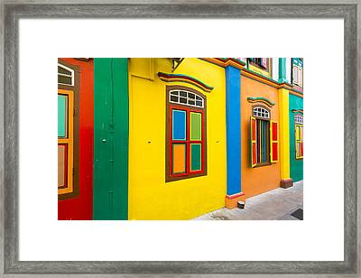 Restored Building In Little India Framed Print