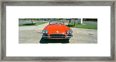 Restored Red 1959 Corvette, Front View Framed Print
