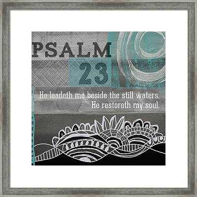 Restoreth My Soul- Contemporary Christian Art Framed Print by Linda Woods