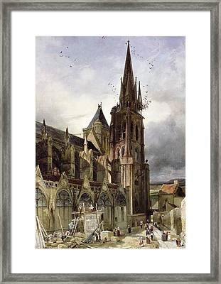 Restoring The Abbey Church Of St. Denis In 1833 Oil On Canvas Framed Print