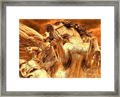 Framed Print featuring the photograph Restraining Pegasus by Nigel Fletcher-Jones