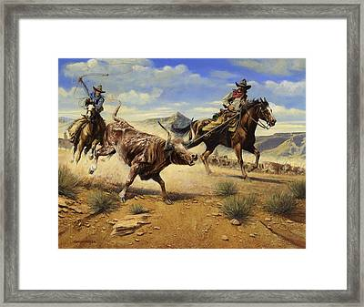 Restraint 2 Cowboys Roping A Steer Framed Print by Don  Langeneckert