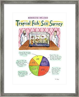 Results Of The Tropical Fish Sex Survey 17% Framed Print by Roz Chast