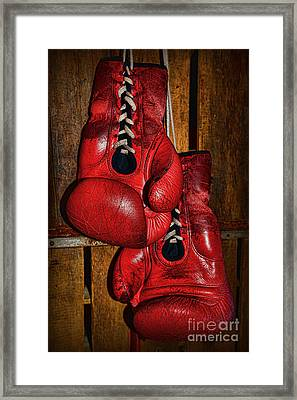 Retired Boxing Gloves Framed Print by Paul Ward