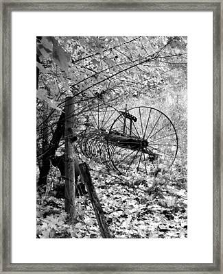 Retired Hay Rake Framed Print