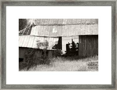 Retired Tractor Framed Print by Heather Allen
