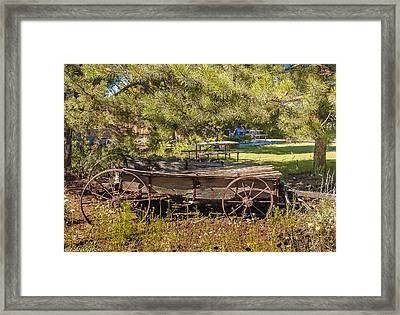 Retired Wagon At Thousand Trails Framed Print by Bob and Nadine Johnston