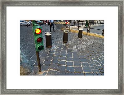 Retractable Traffic Barrier In Rome. Framed Print by Mark Williamson