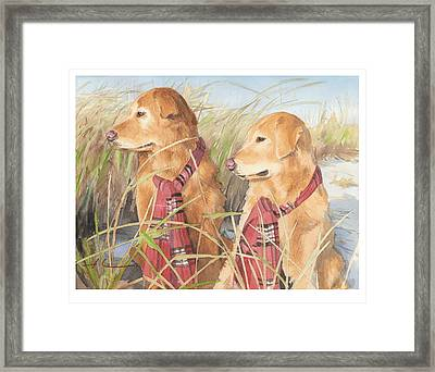 Retrievers In Dunes Watercolor Portrait Framed Print by Mike Theuer