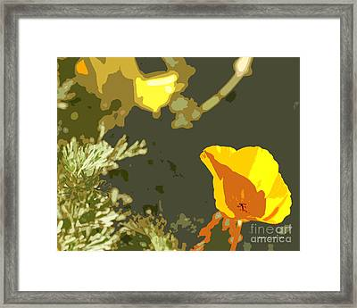 Retro Abstract Poppies 4 Framed Print by Artist and Photographer Laura Wrede