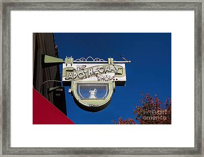 retro Apothecary shop sign Framed Print