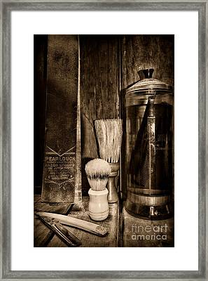Retro Barber Tools In Black And White Framed Print