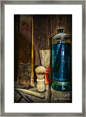 Retro Barber Tools Framed Print by Paul Ward