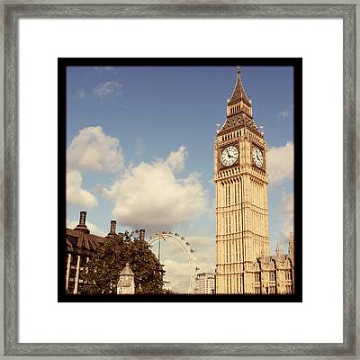Retro Big Ben Framed Print by Heidi Hermes