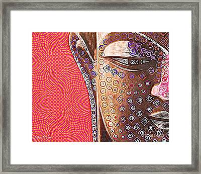 Framed Print featuring the mixed media Retro Buddha by Julie  Hoyle