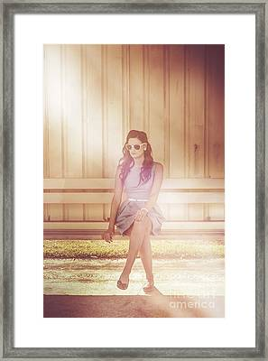 Retro Bus Stop Pin Up Girl Framed Print by Jorgo Photography - Wall Art Gallery