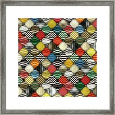 Retro Buttoned Patches Framed Print by Sharon Turner