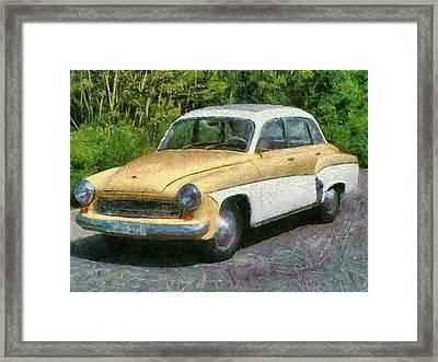 Retro Car Wartburg Framed Print by Georgi Dimitrov