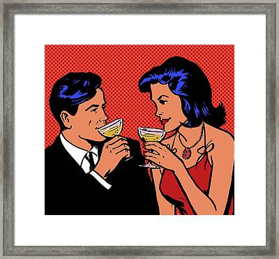 Retro Couple Drinking Champagne Framed Print