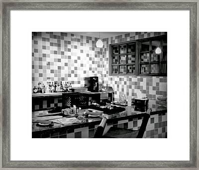 Retro Diner Bw Framed Print by Karen Wiles