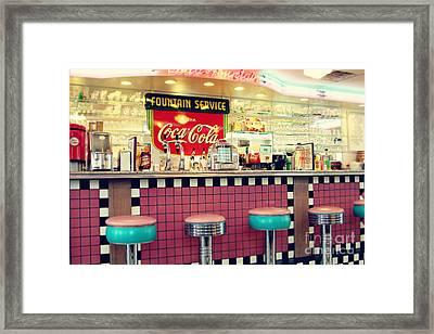Retro Diner Framed Print by Sylvia Cook