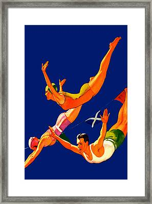 Retro Cliff Divers - At The Beach America Framed Print by Private Collection