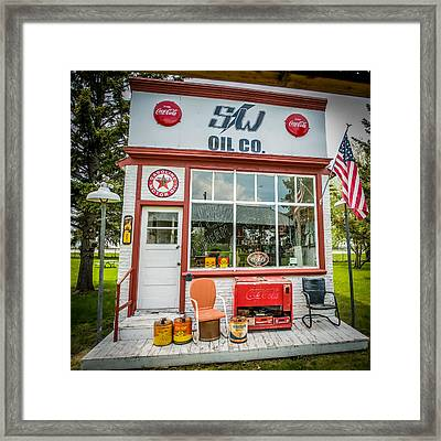 Retro Gas Station Framed Print by Paul Freidlund