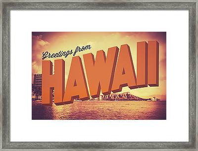 Retro Greetings From Hawaii Postcard Framed Print by Mr Doomits