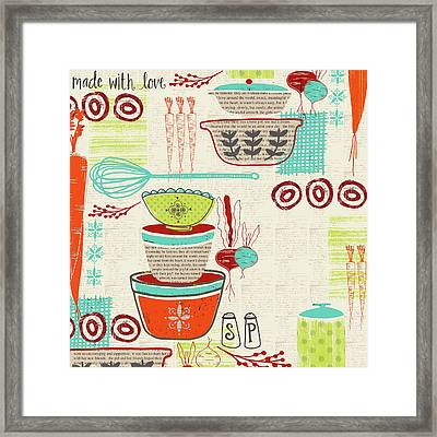 Retro Kitchen Framed Print by Katie Doucette
