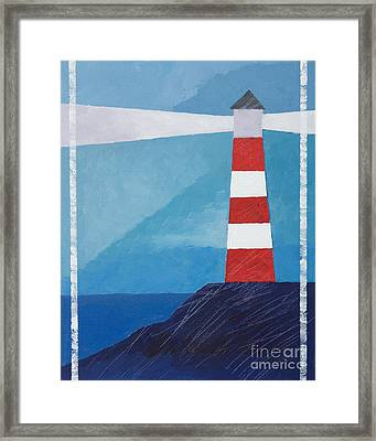 Retro Lighthouse Framed Print