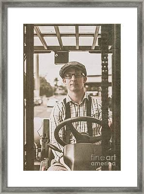 Retro Man Operating Heavy Lift Machinery Framed Print